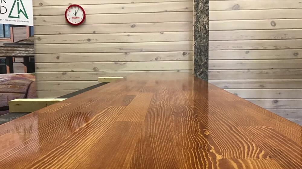 Покраска деревянной столешницы маслом OSMO